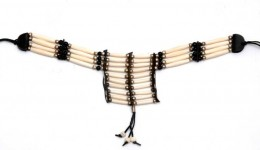 Buy 5255 Breast Plates- Small- White Bone And Black Beads in US